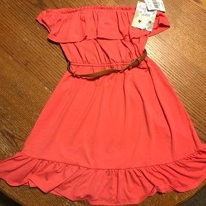Ladies Off Shoulder Dress- Color Coral -Size M
